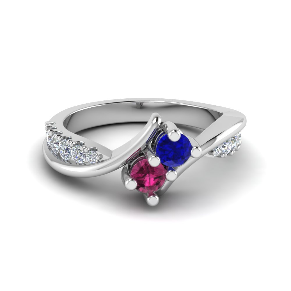 Crossover Sapphire 2 Stone Diamond Ring in White Gold