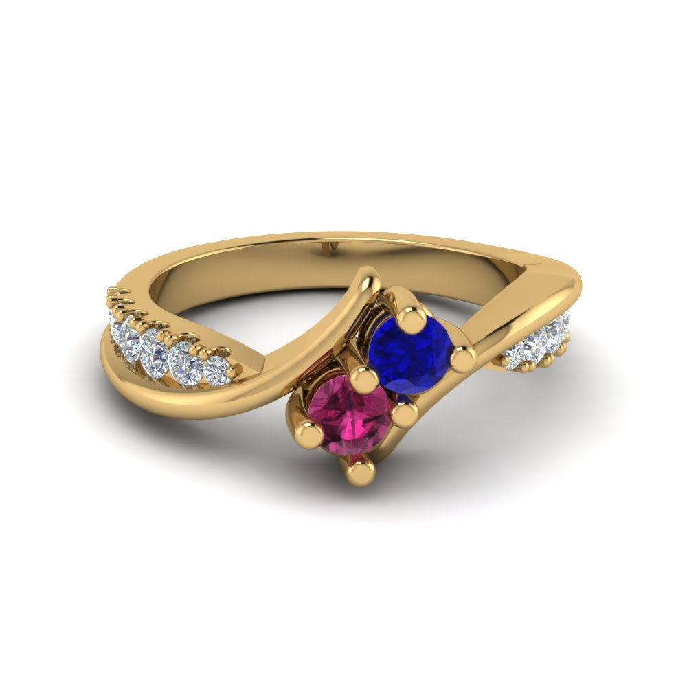 Crossover Sapphire 2 Stone Diamond Ring Colored Engagement Rings With Pink  Sapphire In 14k Yellow Gold