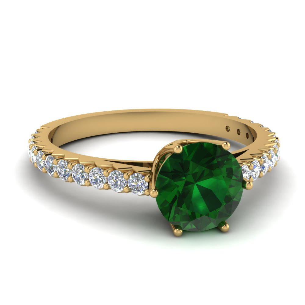 Crown Emerald Engagement Ring