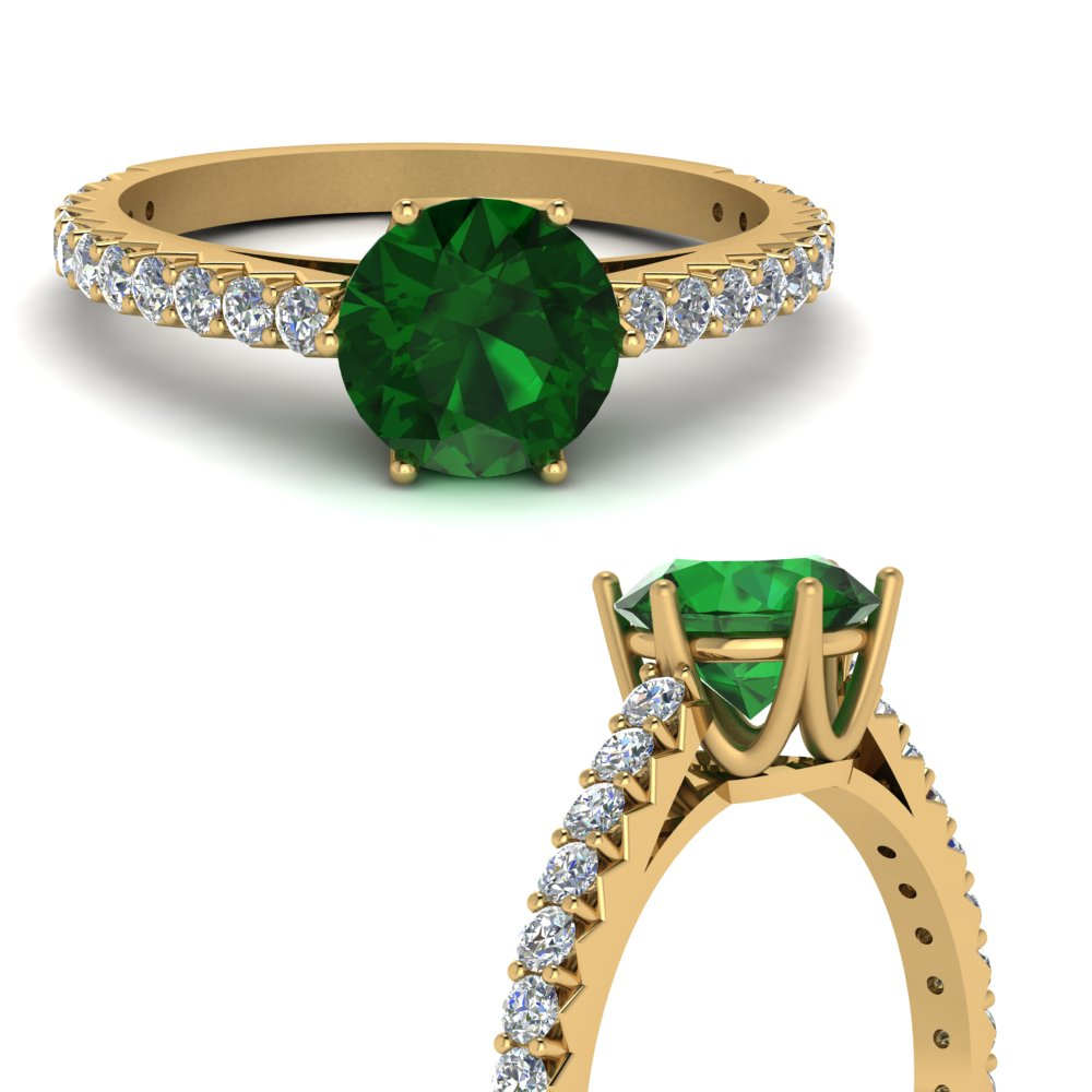 crown emerald engagement ring in FDENR9176RORGEMANGLE3 NL YG