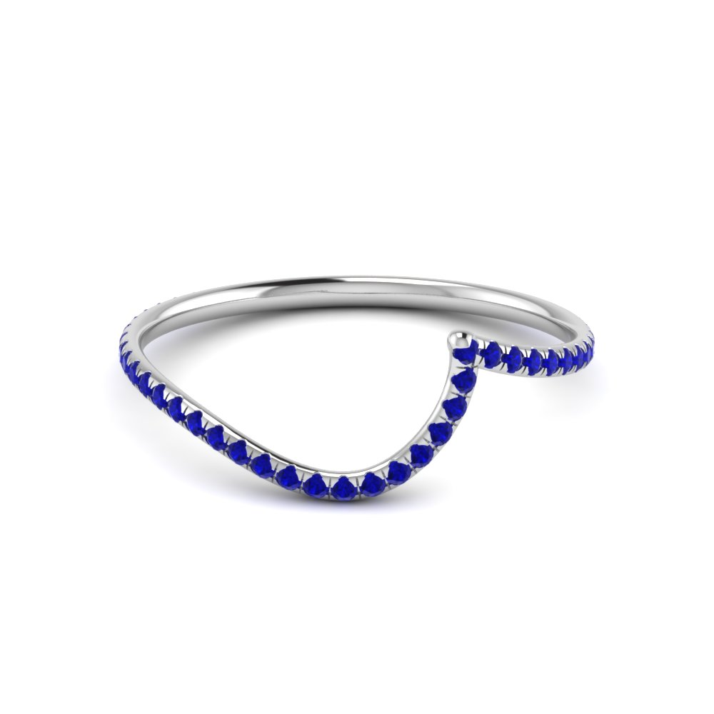 Curved Band With Blue Sapphire