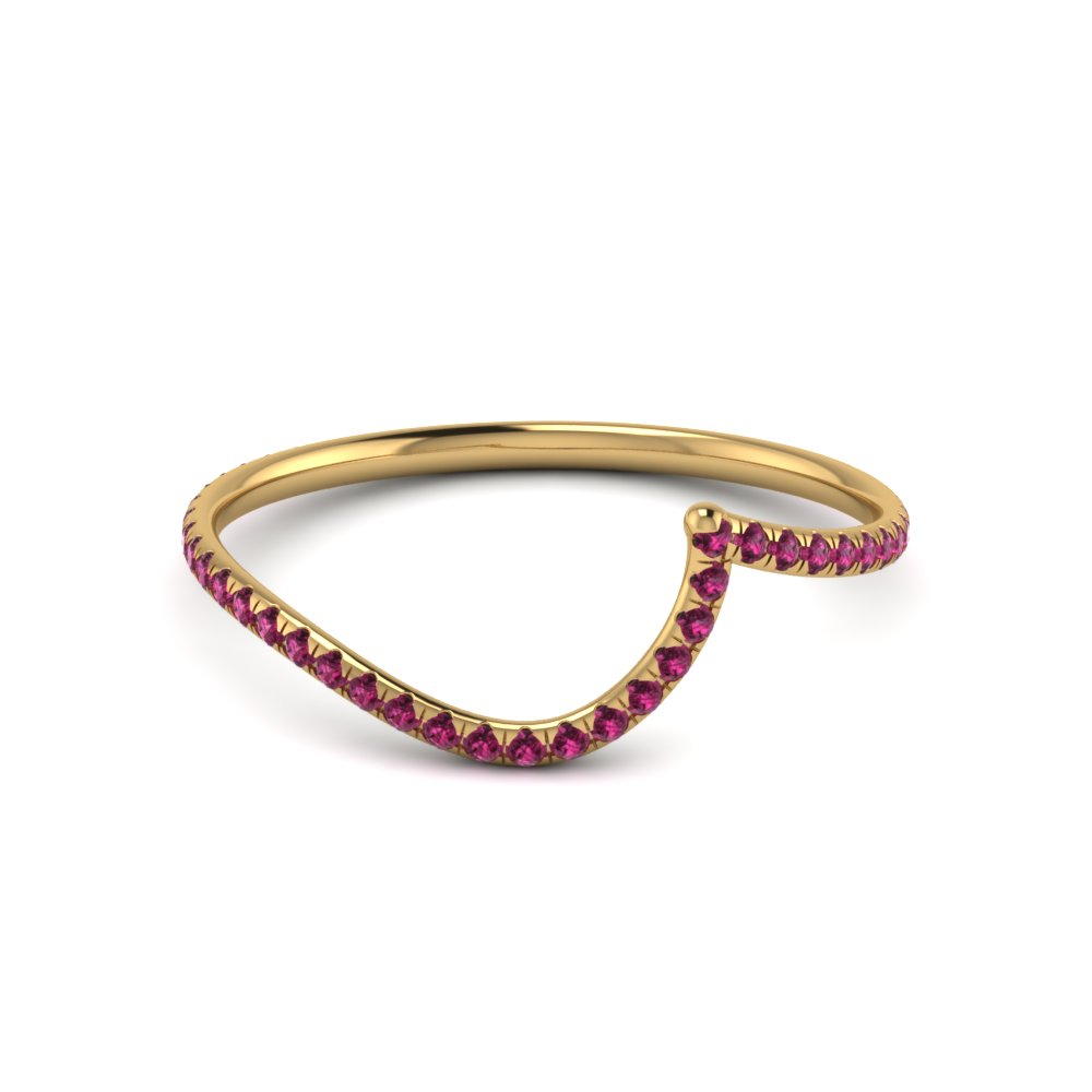 Colorful Curved Wedding Band For Her