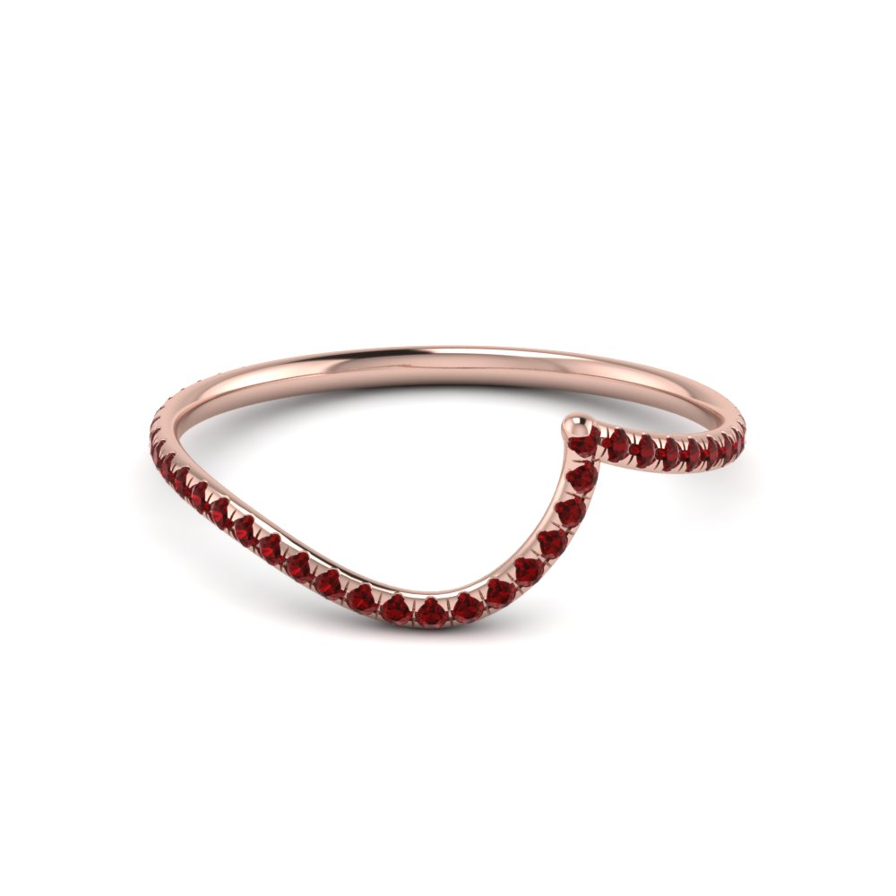 Swirl Wedding Band Ruby