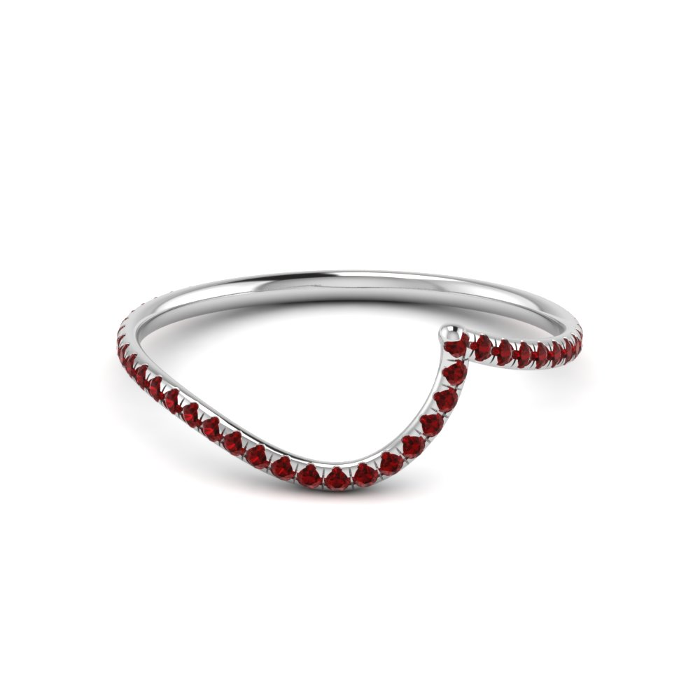 936c4cab07a3ff Curved Ruby Wedding Band In 14K White Gold | Fascinating Diamonds