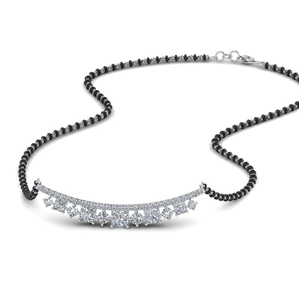 Diamond Black Beads Mangalsutra For Her