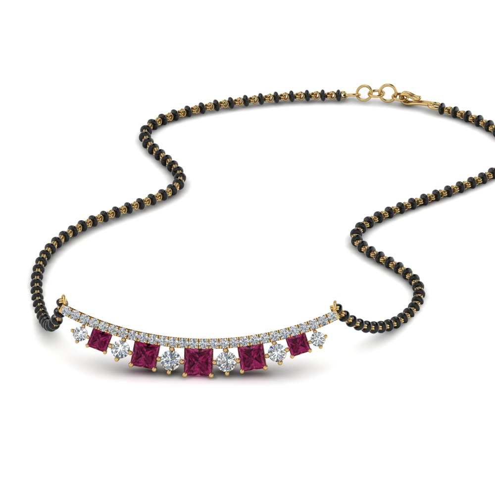 Pink Sapphire Mangalsutra With Curved Pendant