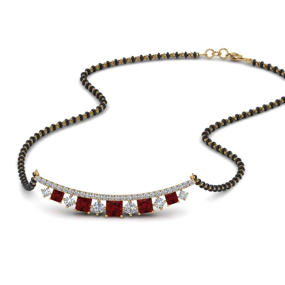 18K Yellow Gold Mangalsutra With Ruby