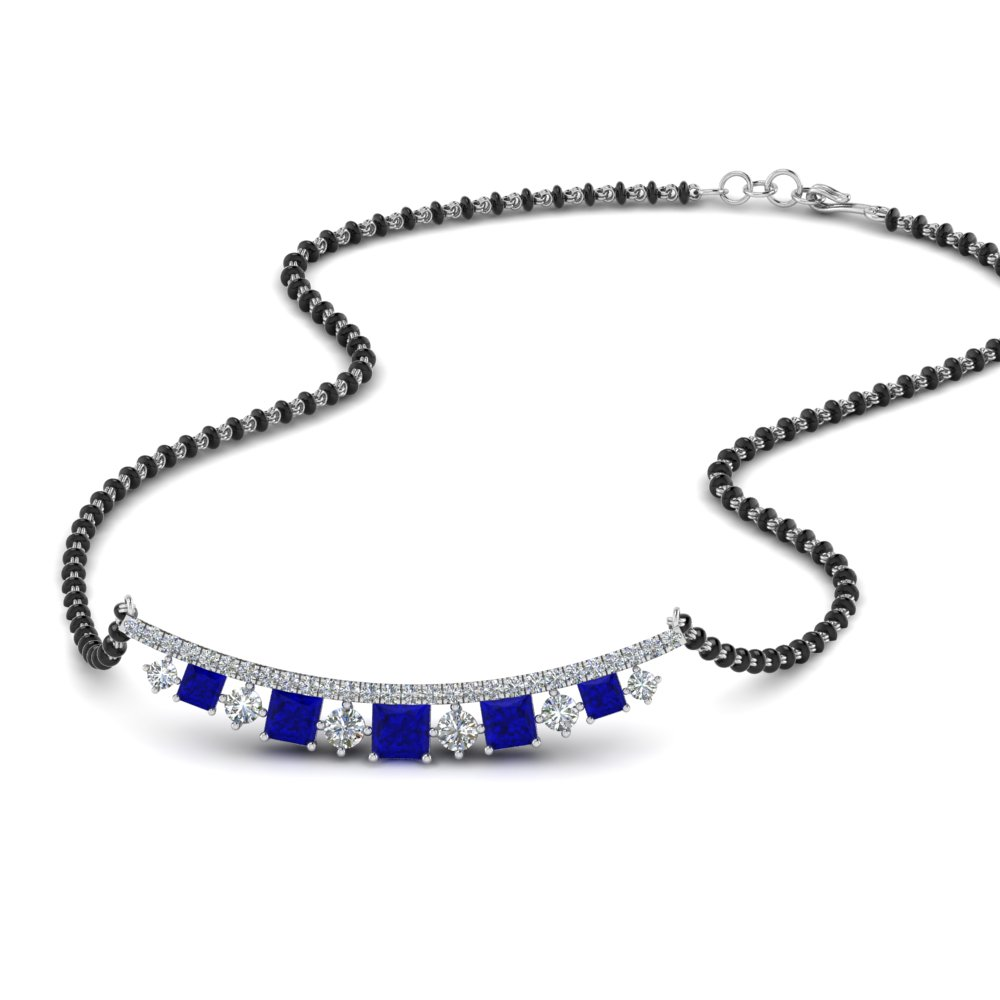 Blue Sapphire Mangalsutra With Black Beads