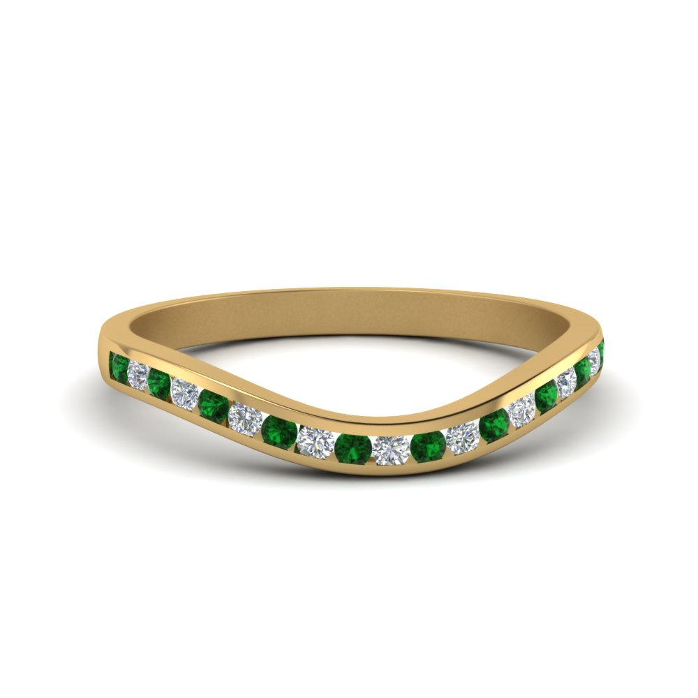 Curved Channel Diamond Band With Emerald