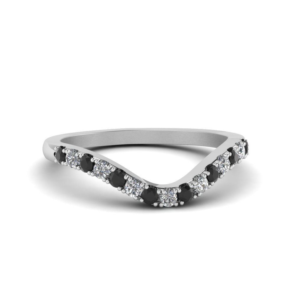 curved delicate band with black diamond in FDENS2232BGBLACK NL WG