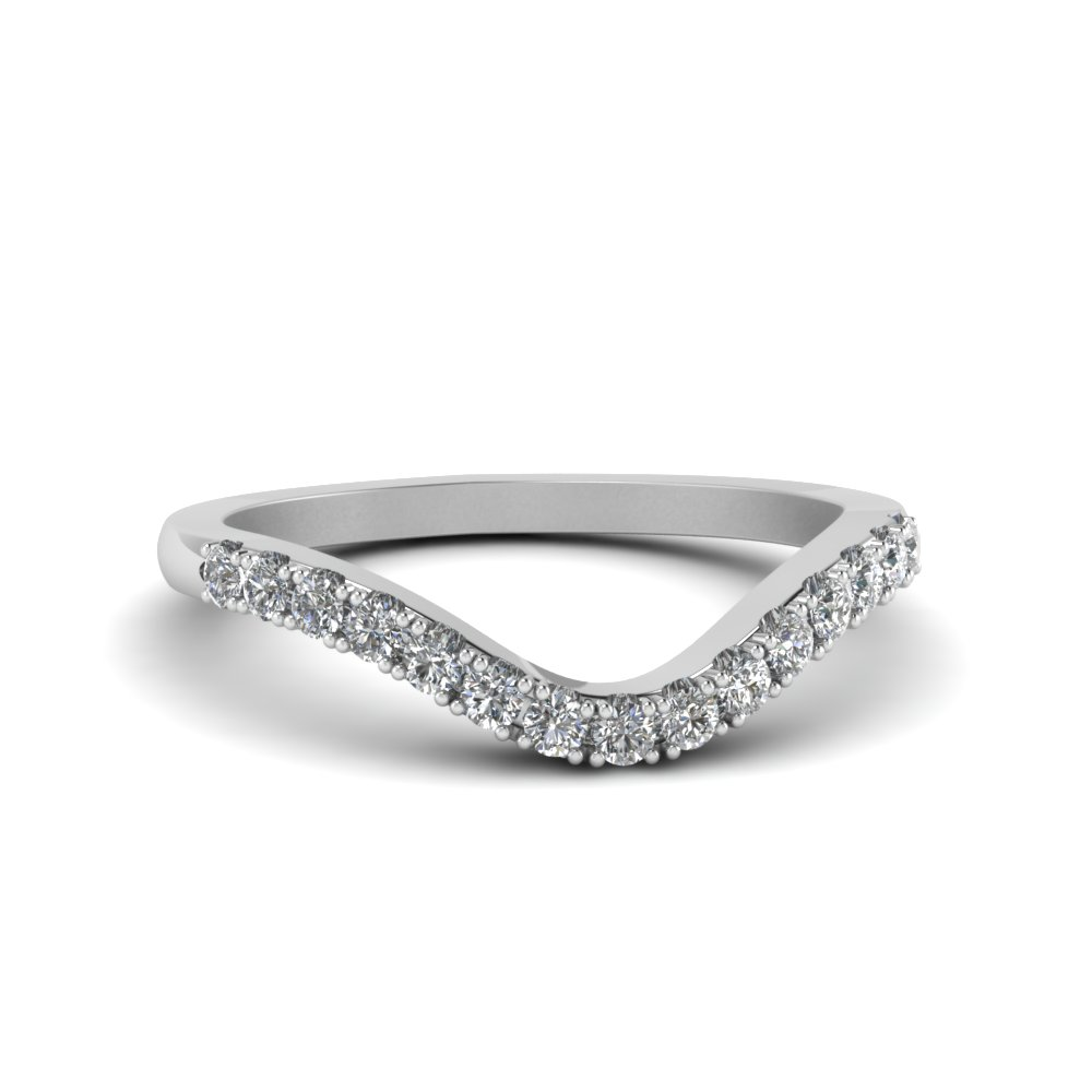 curved delicate diamond wedding band in FDENS2232B NL WG