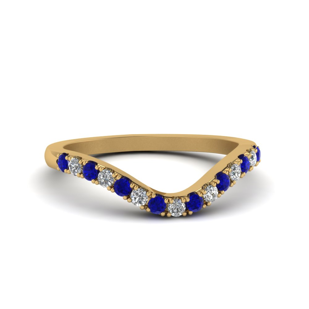 curved delicate diamond wedding band with sapphire in FDENS2232BGSABL NL YG
