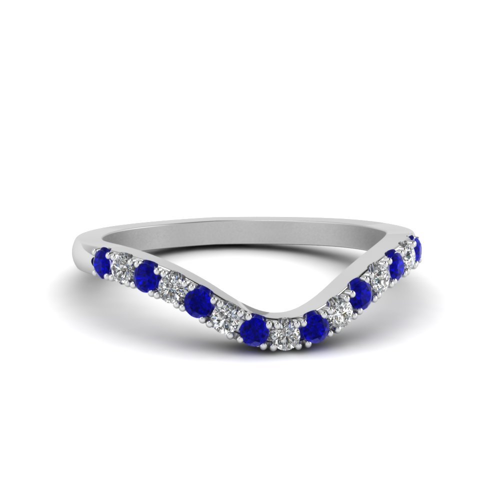 curved delicate diamond wedding band with sapphire in FDENS2232BGSABL NL WG