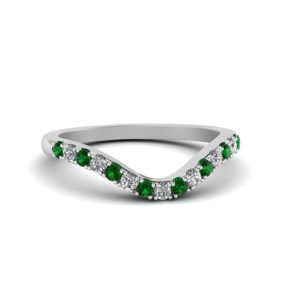 curved delicate diamond wedding band with emerald in FDENS2232BGEMGR NL WG