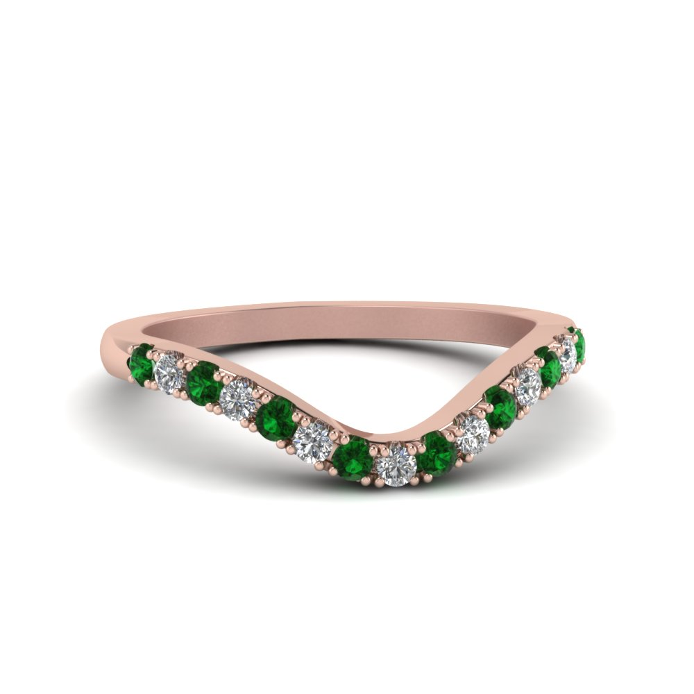 curved delicate diamond wedding band with emerald in FDENS2232BGEMGR NL RG