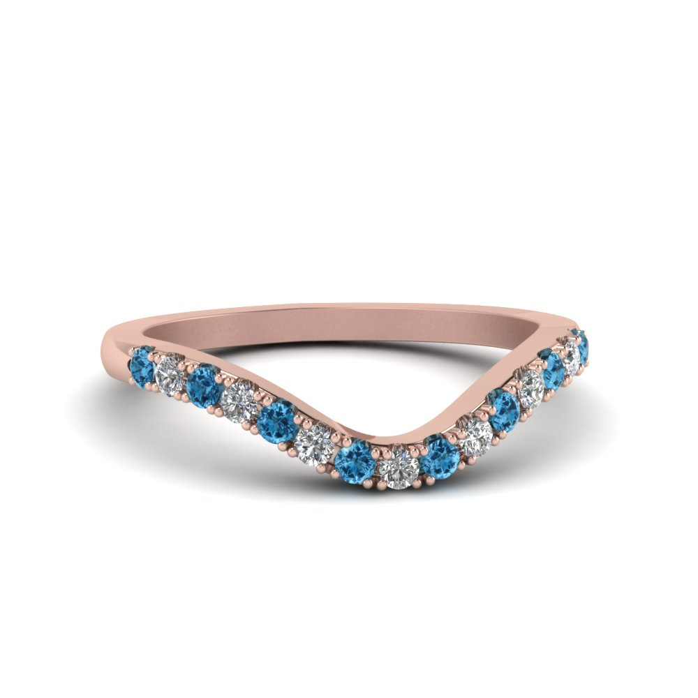 curved delicate diamond wedding band with blue topaz in FDENS2232BGICBLTO NL RG