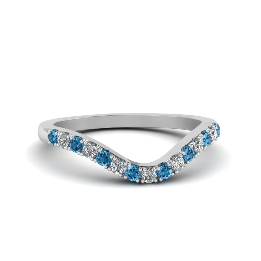 curved delicate diamond wedding band with blue topaz in FDENS2232BGICBLTO NL WG