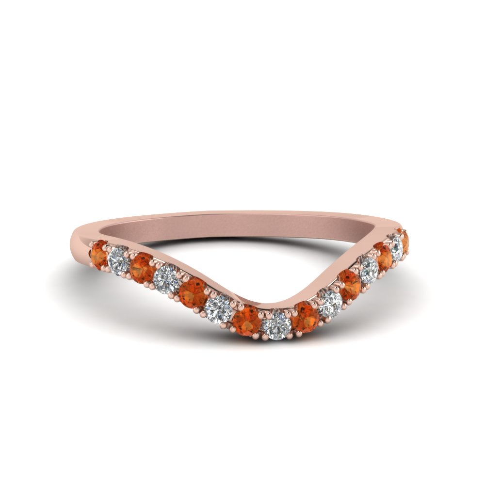curved delicate diamond wedding band with orange sapphire in FDENS2232BGSAOR NL RG