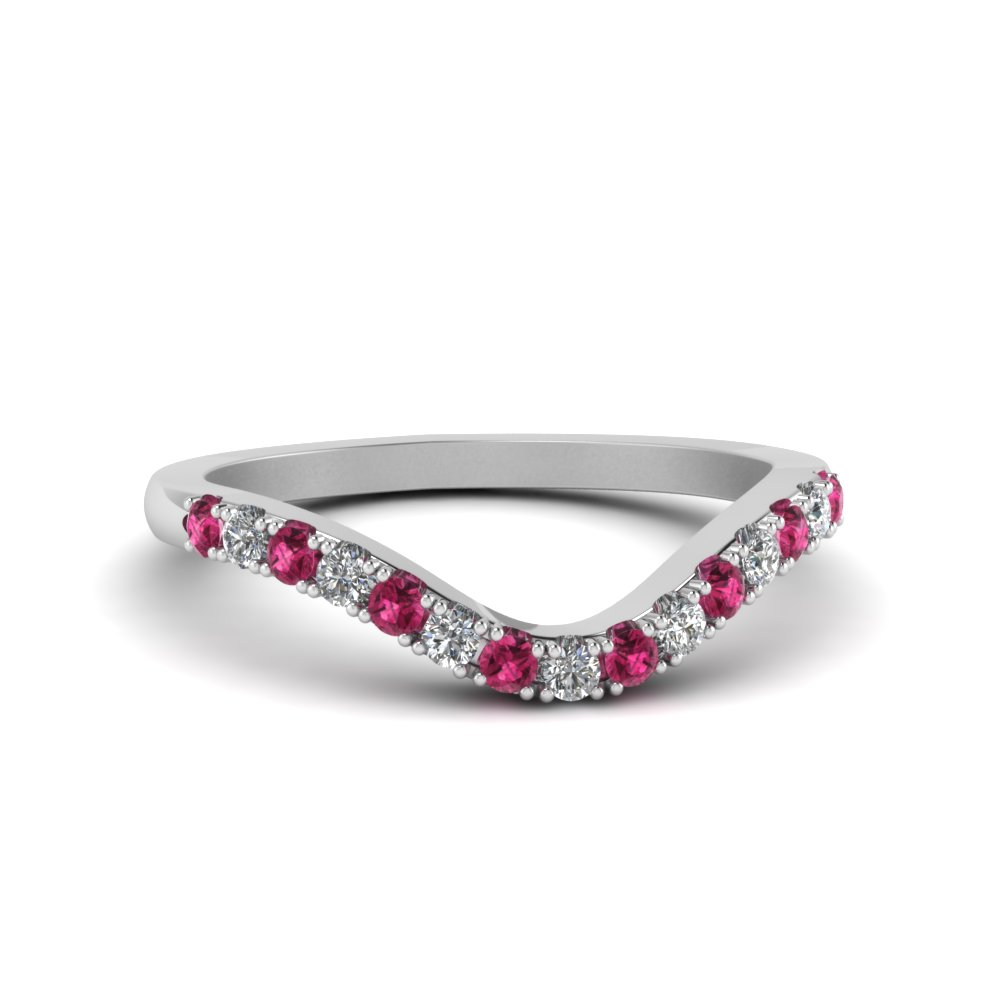 curved delicate diamond wedding band with pink sapphire in FDENS2232BGSADRPI NL WG