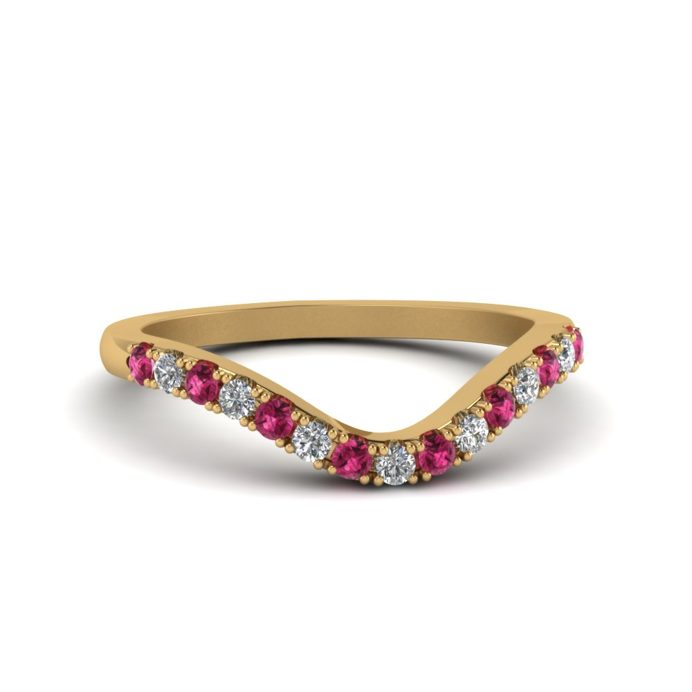 curved-delicate-diamond-band-with-pink-sapphire-in-14K-yellow-gold-FDENS2232BGSADRPI-NL-YG