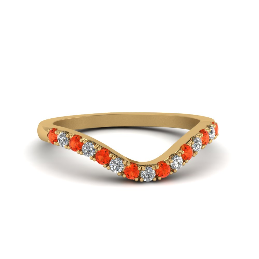curved delicate diamond wedding band with orange topaz in FDENS2232BGPOTO NL YG