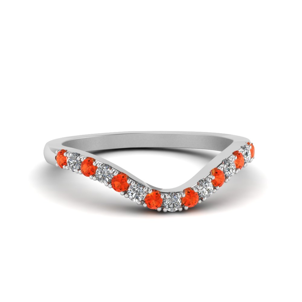 curved delicate diamond wedding band with orange topaz in FDENS2232BGPOTO NL WG