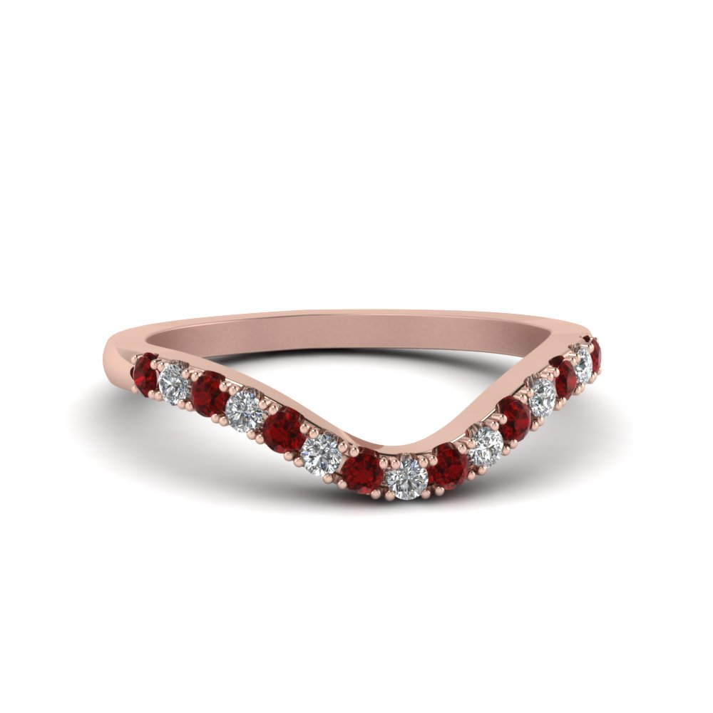 curved delicate diamond wedding band with ruby in FDENS2232BGRUDR NL RG