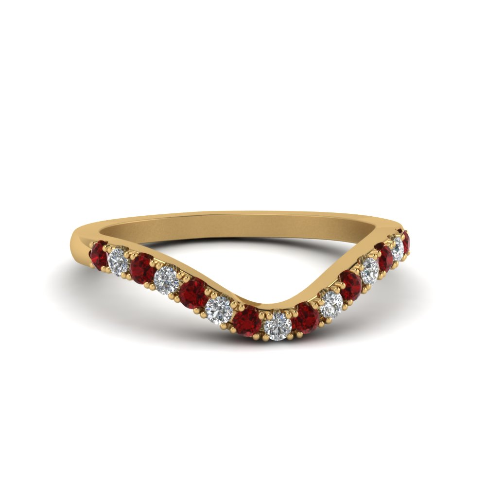 curved delicate diamond wedding band with ruby in FDENS2232BGRUDR NL YG