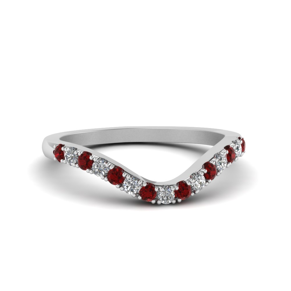 curved delicate diamond wedding band with ruby in FDENS2232BGRUDR NL WG