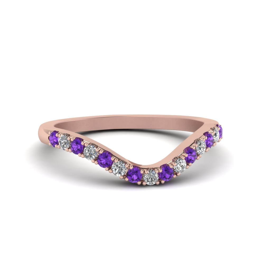 curved delicate diamond wedding band with purple topaz in FDENS2232BGVITO NL RG