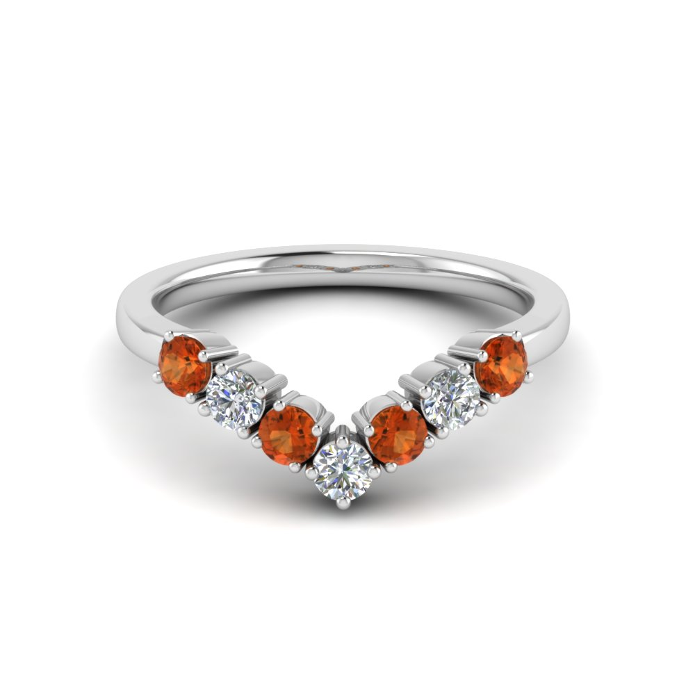 55b651fe1 curved diamond wedding anniversary band gift with orange sapphire in  FD8204BGSAOR NL WG