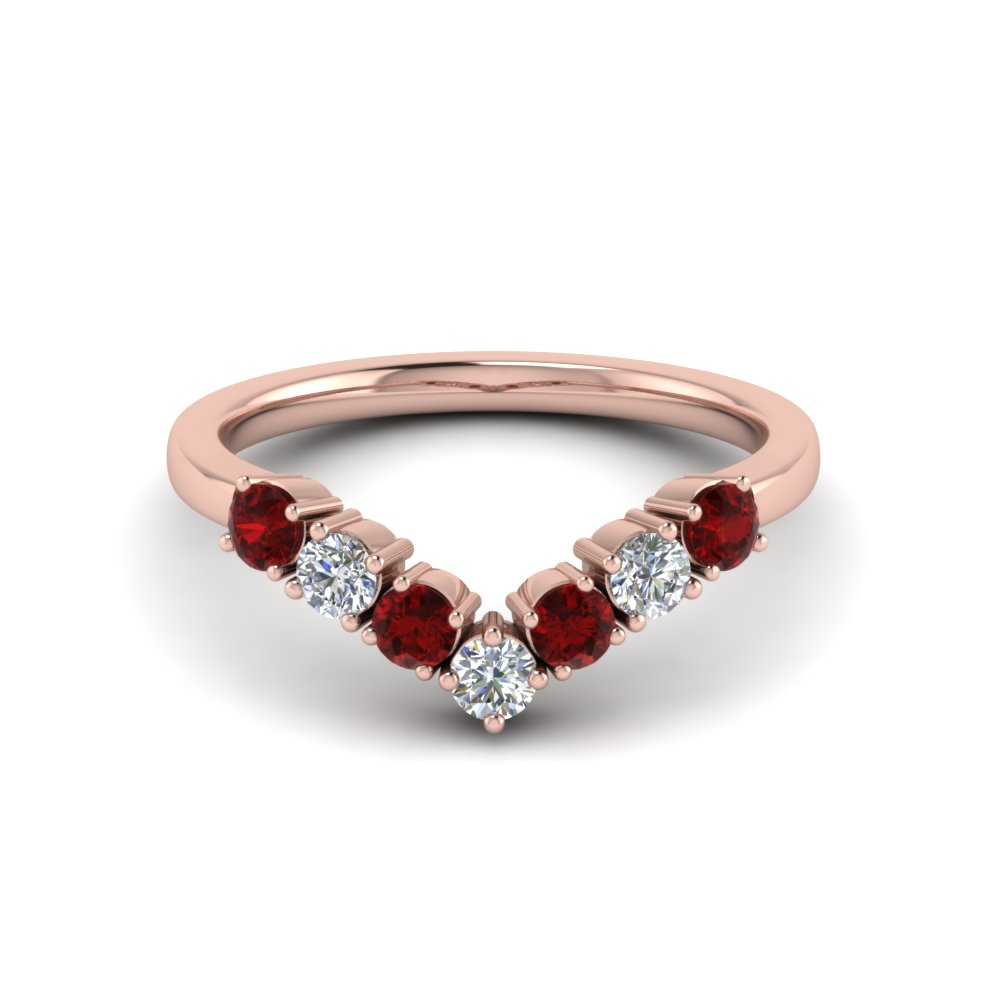 Curved Diamond Wedding Anniversary Band Gift With Ruby In 18K Rose ...
