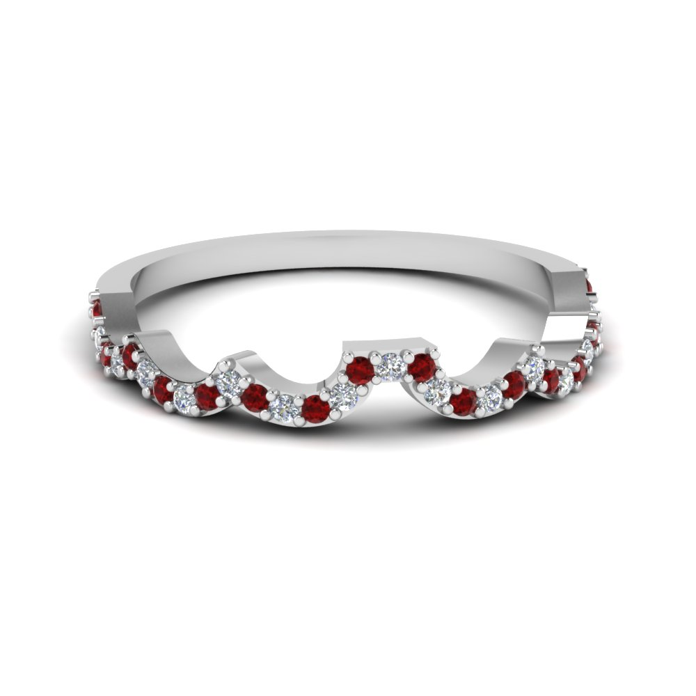 Curved Ruby Diamond Wedding Band