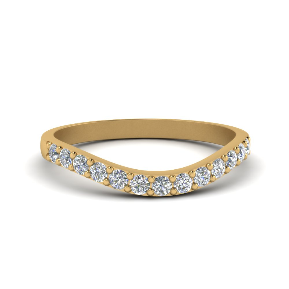Curved Diamond Wedding Ring For Women Womens Bands With White In 14k Yellow Gold: Curved Wedding Band 0 5ct Diamonds At Reisefeber.org