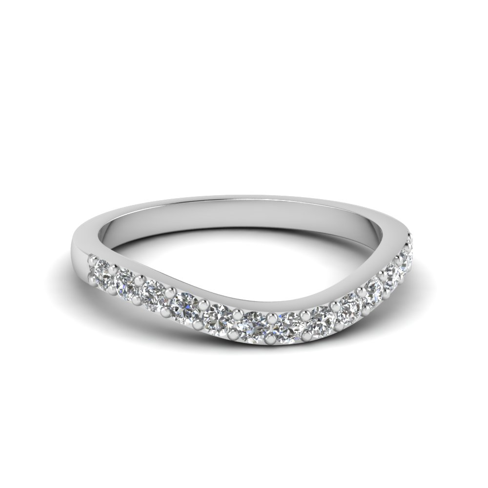 Platinum Curved Diamond Wedding Band For Women