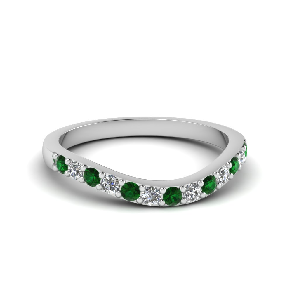 Green Emerald Wedding Bands For Her