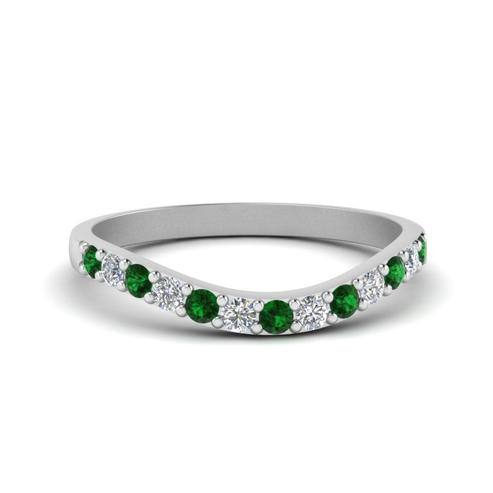 Curved Emerald Diamond Wedding Ring