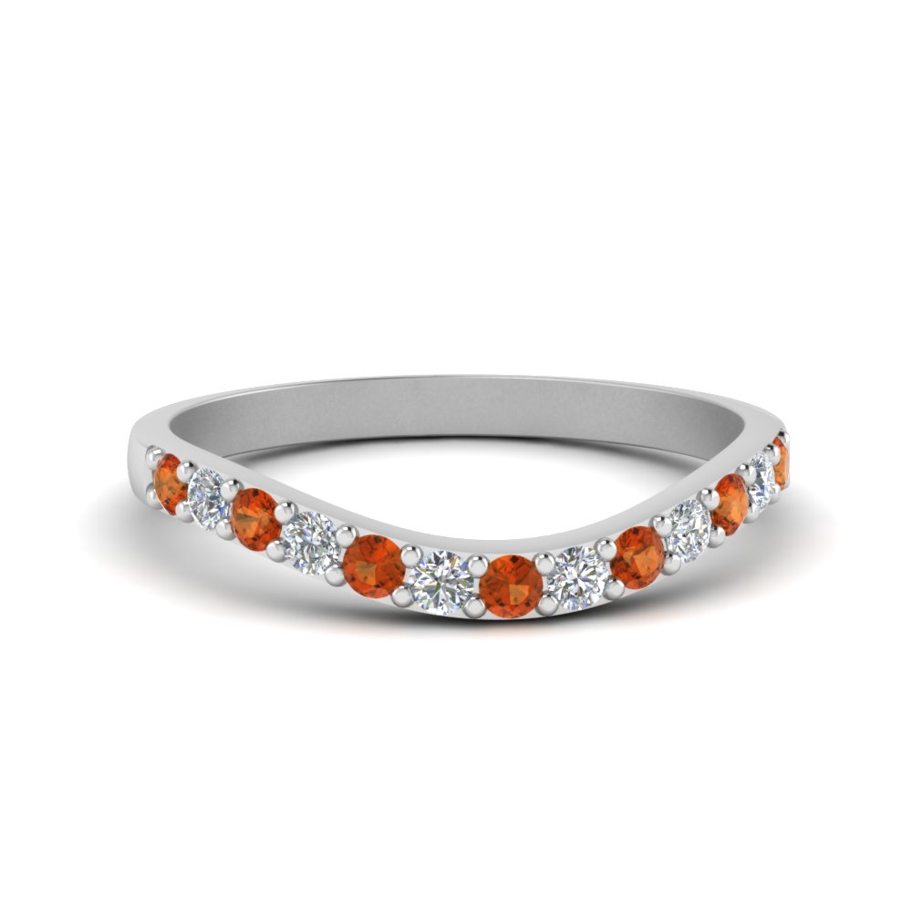curved diamond wedding ring for women with orange sapphire in 14K white gold FDENS2255B1GSAOR NL WG