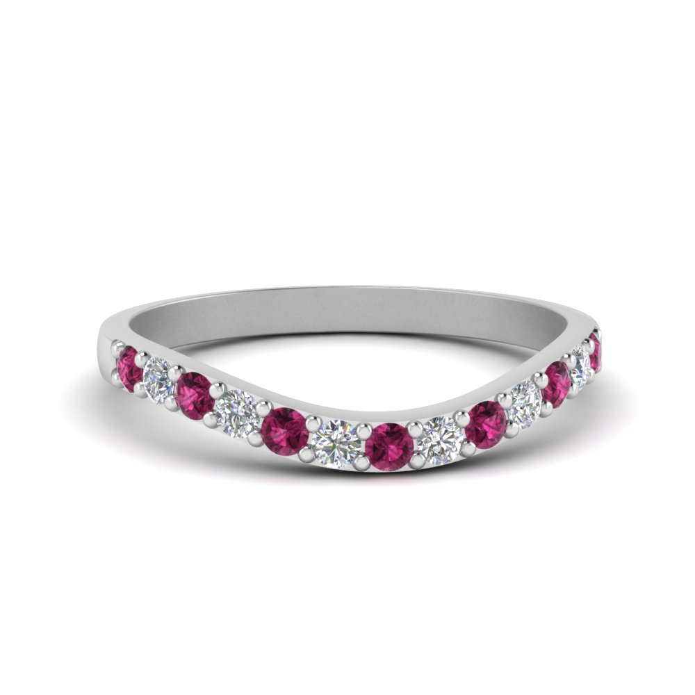 curved diamond wedding ring for women with pink sapphire in 950 platinum FDENS2255B1GSADRPI NL WG