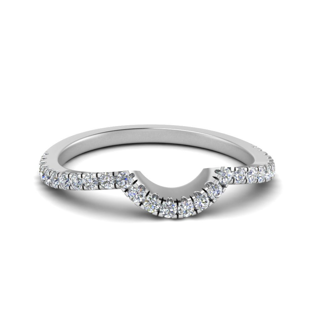 3f1223248 Curved Diamond Womens Wedding Band In 18K White Gold | Fascinating ...
