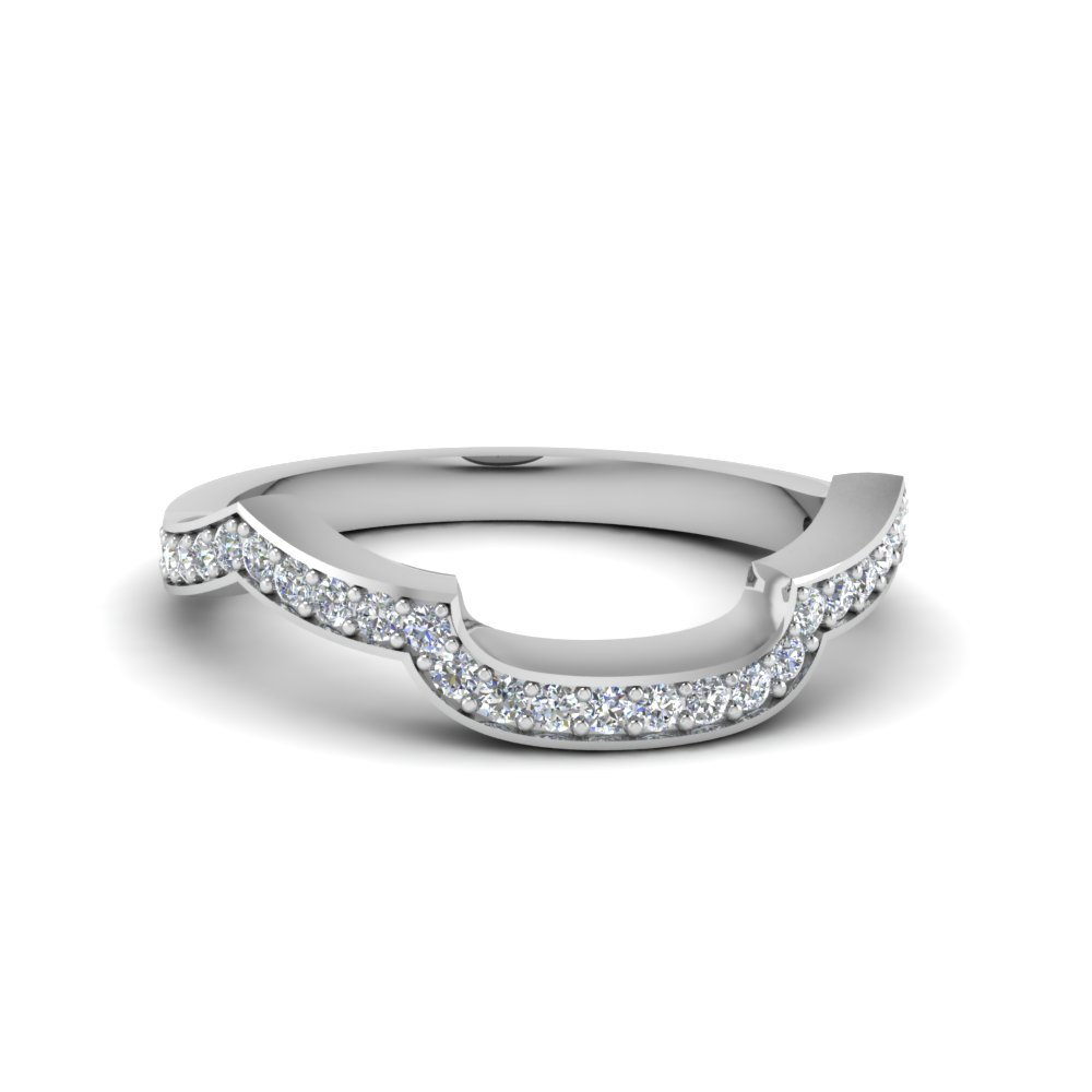 Platinum Curved Shape Band For Her