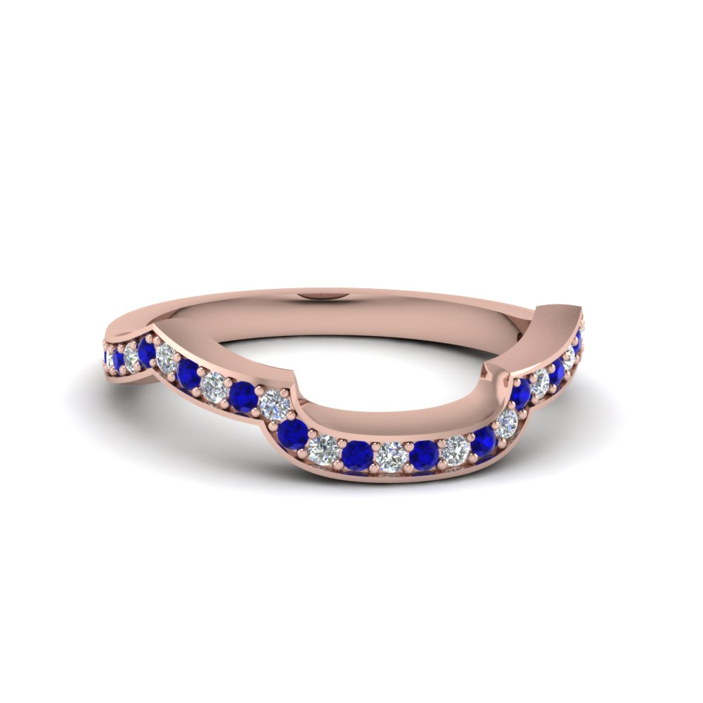 Sapphire Diamond Curved Band
