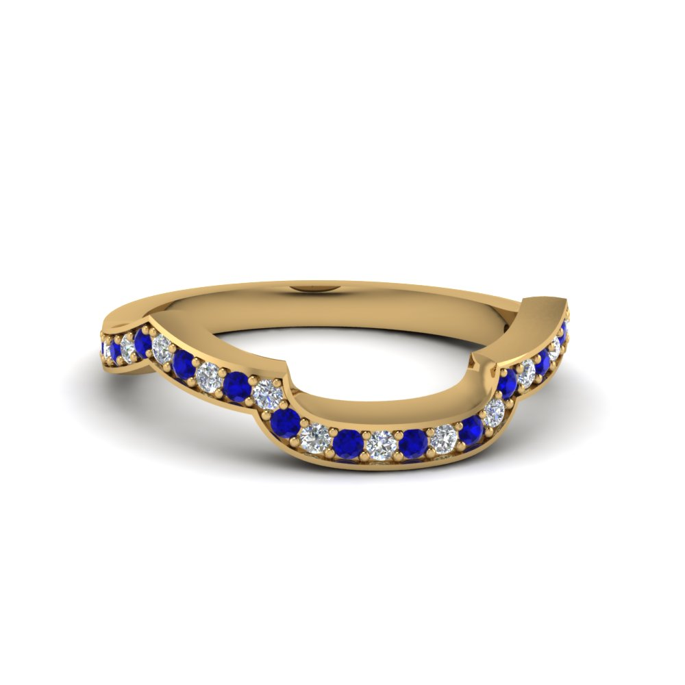 18K Gold Sapphire Pave Band