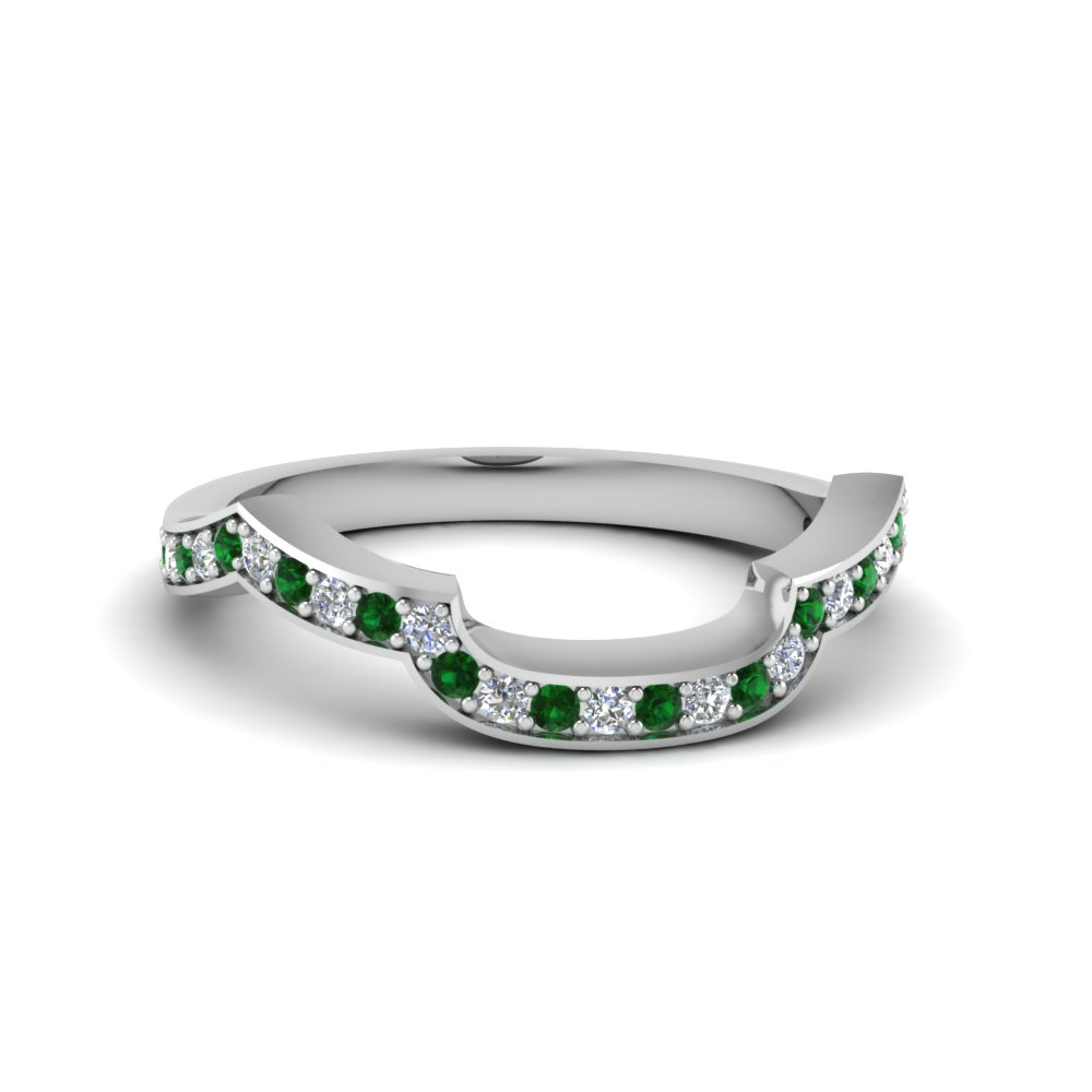Delicate Emerald Curved Shape Band