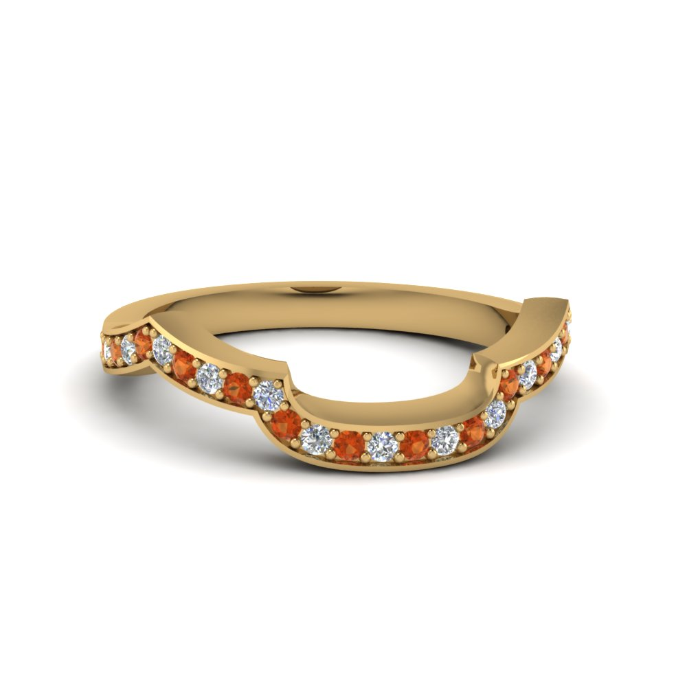 Orange Sapphire Band In 14K Gold