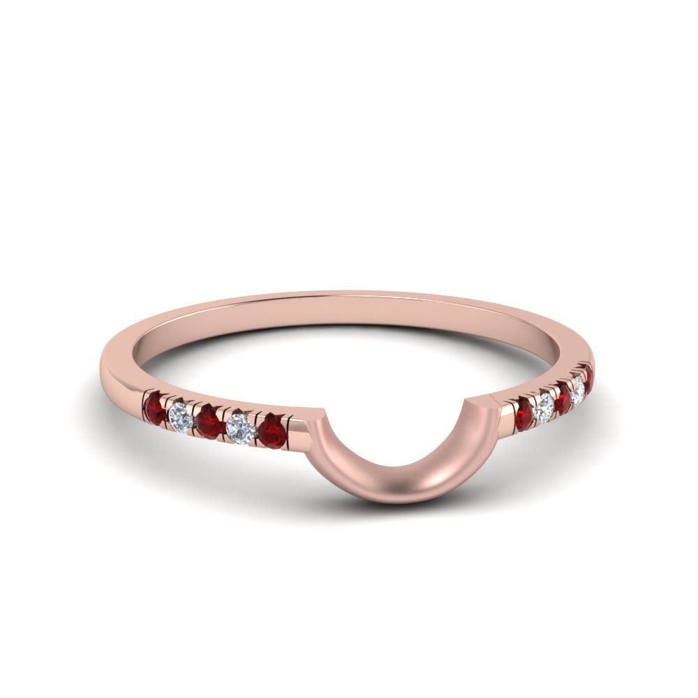 curved french pave diamond wedding band with ruby in FD1024BGRUDR NL RG
