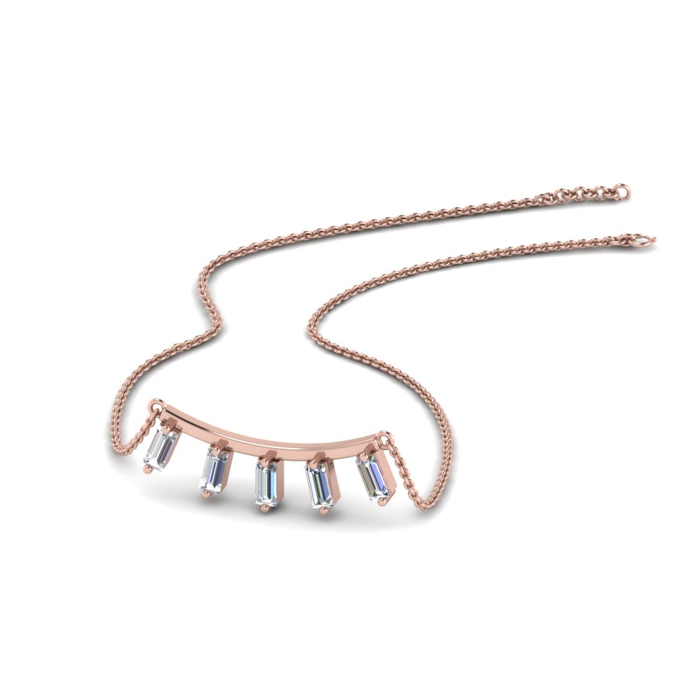 Straight Baguette Diamond Necklace