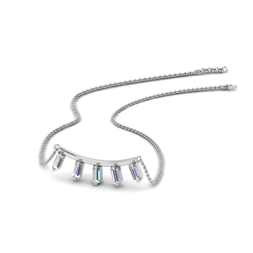 curved with baguette necklace in 14K white gold FDPD8394 NL WG