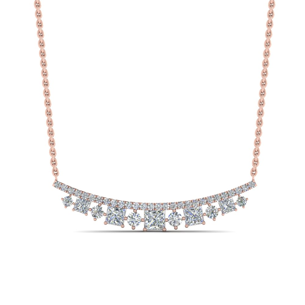 curved graduated diamond necklace in FDPD8928ANGLE1 NL RG