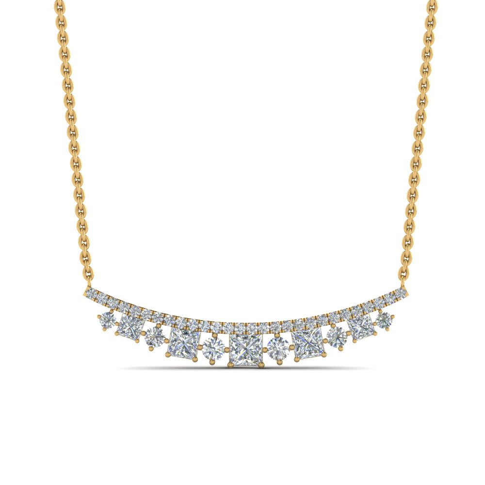 curved graduated diamond necklace in FDPD8928ANGLE1 NL YG